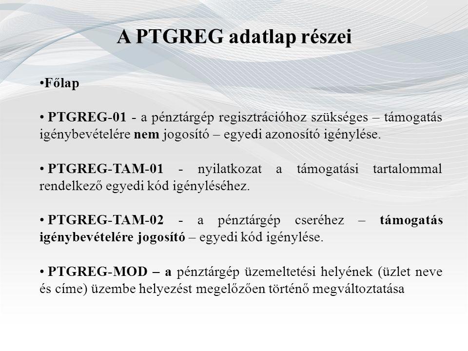 A PTGREG adatlap részei