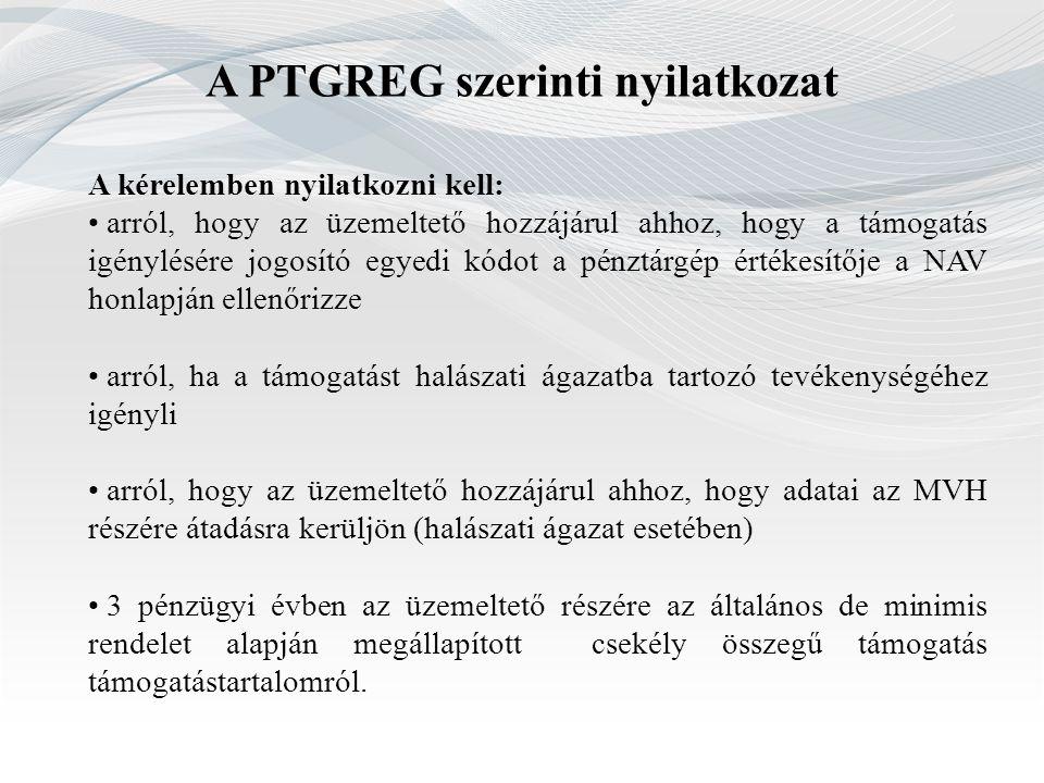 A PTGREG szerinti nyilatkozat