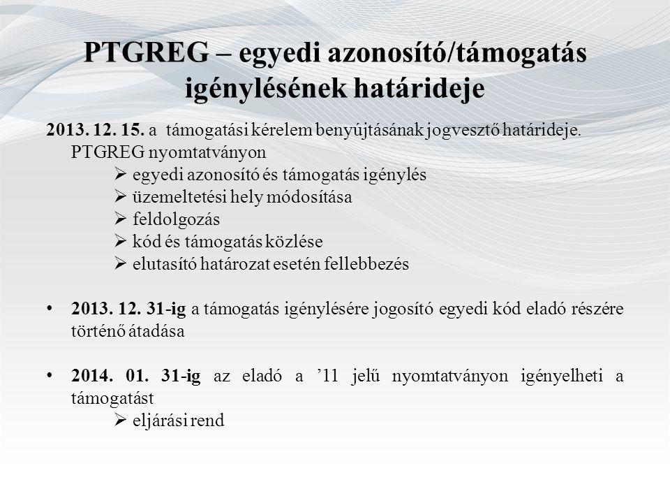 PTGREG – egyedi azonosító/támogatás igénylésének határideje