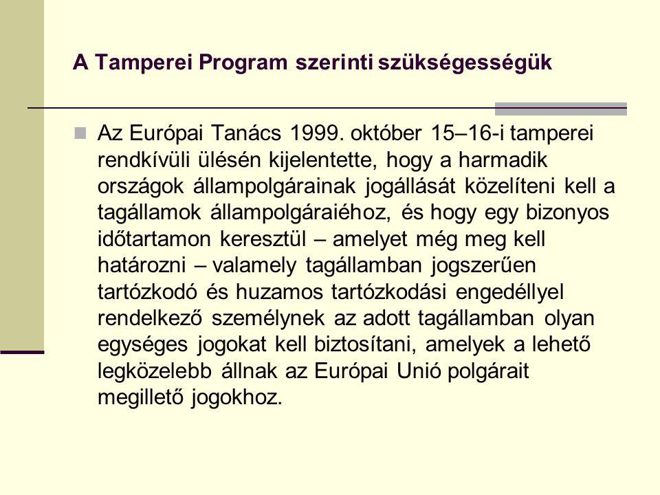A Tamperei Program szerinti szükségességük