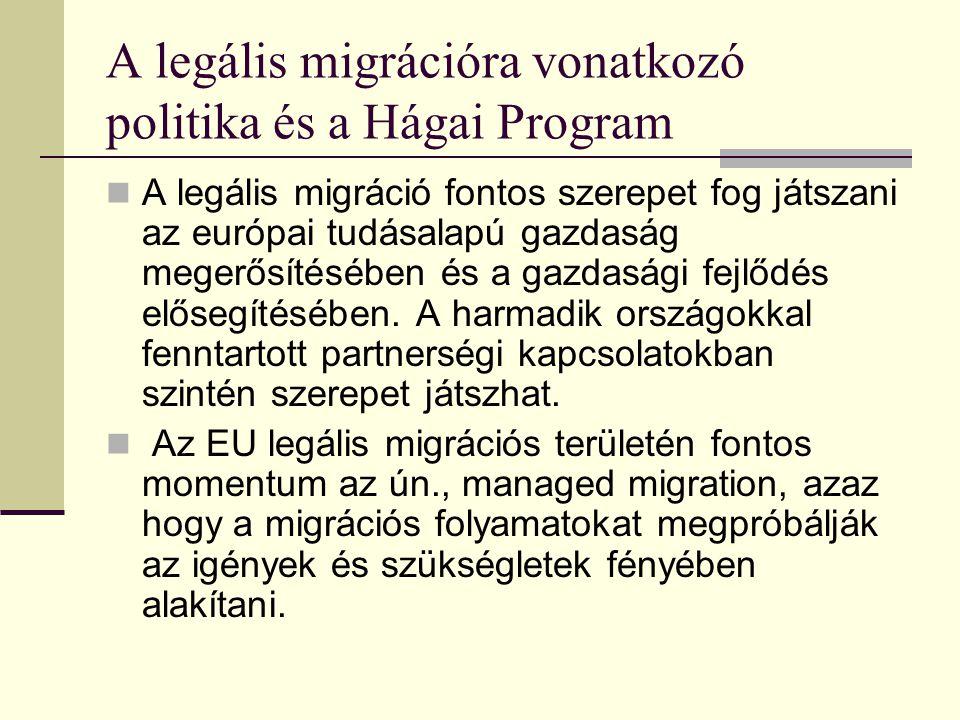 A legális migrációra vonatkozó politika és a Hágai Program