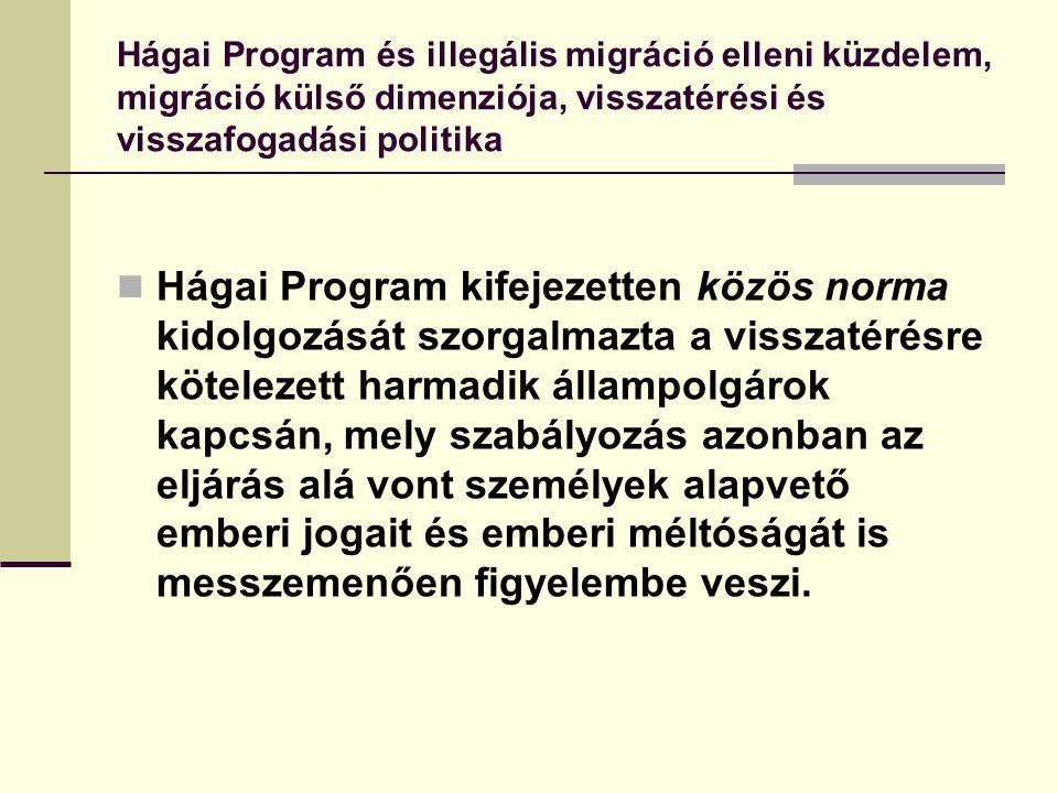 Hágai Program és illegális migráció elleni küzdelem, migráció külső dimenziója, visszatérési és visszafogadási politika