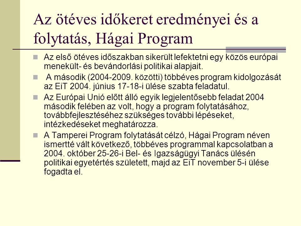 Az ötéves időkeret eredményei és a folytatás, Hágai Program