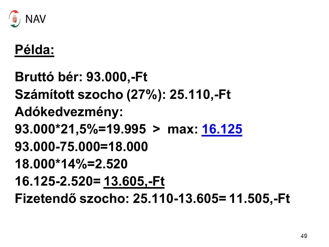 Példa: Bruttó bér: 93. 000,-Ft Számított szocho (27%): 25