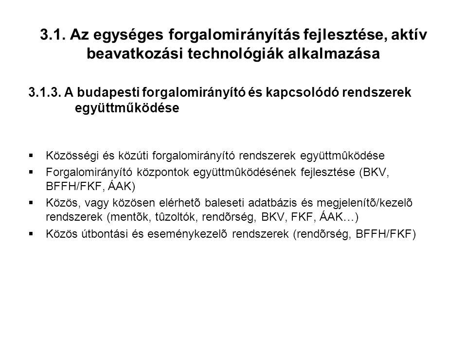 3.1. Az egységes forgalomirányítás fejlesztése, aktív beavatkozási technológiák alkalmazása