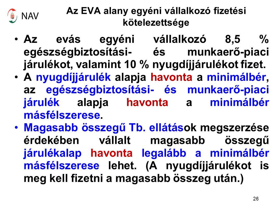 Az EVA alany egyéni vállalkozó fizetési kötelezettsége