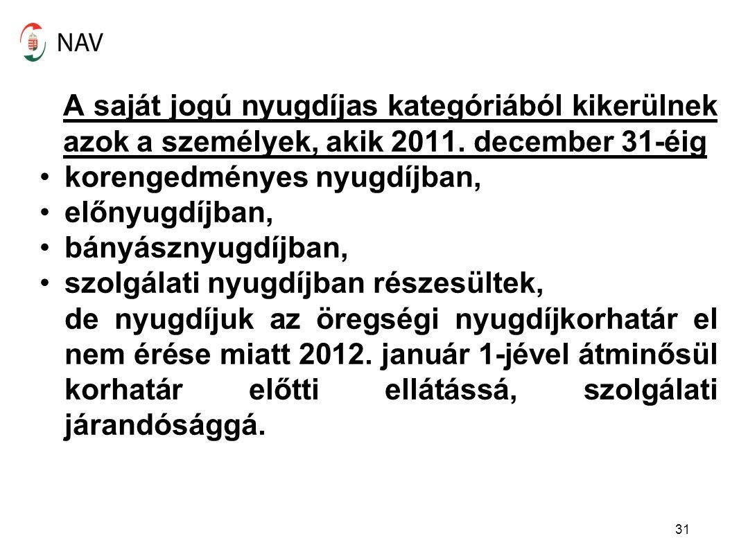 A saját jogú nyugdíjas kategóriából kikerülnek azok a személyek, akik 2011. december 31-éig