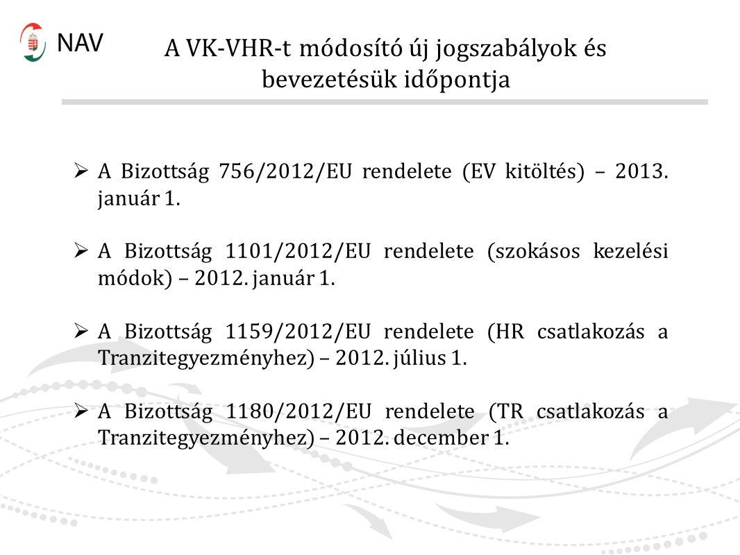 A VK-VHR-t módosító új jogszabályok és bevezetésük időpontja