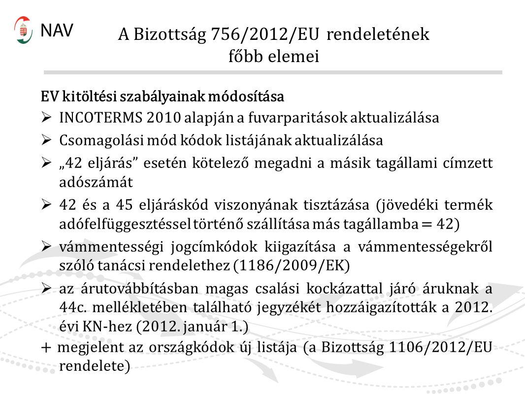 A Bizottság 756/2012/EU rendeletének főbb elemei