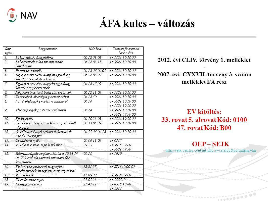 ÁFA kulcs – változás EV kitöltés: 33. rovat 5. alrovat Kód: 0100