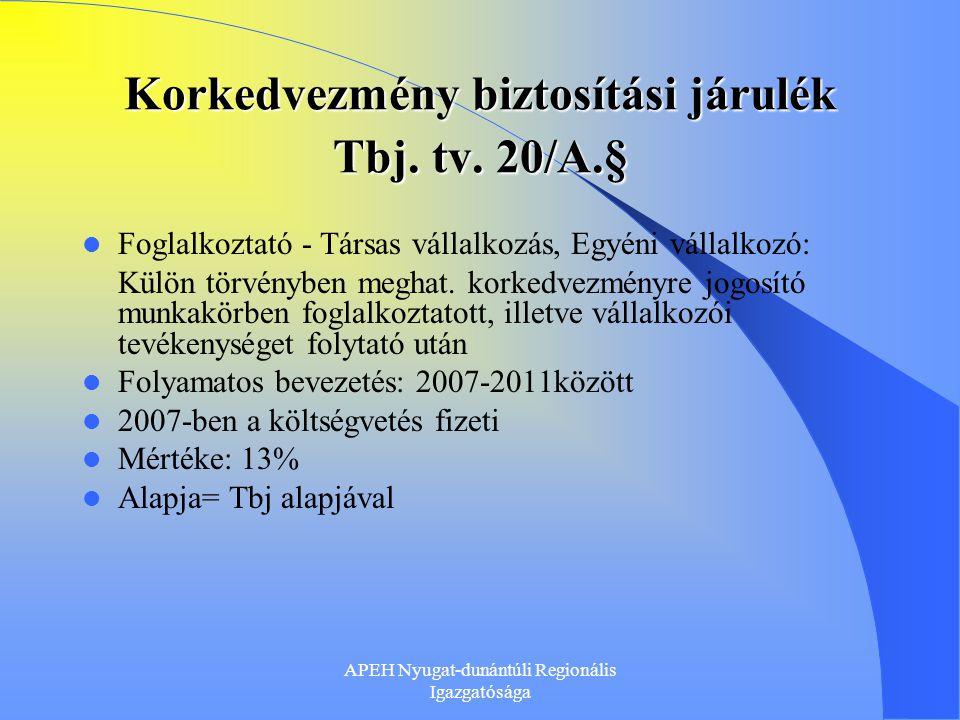 Korkedvezmény biztosítási járulék Tbj. tv. 20/A.§