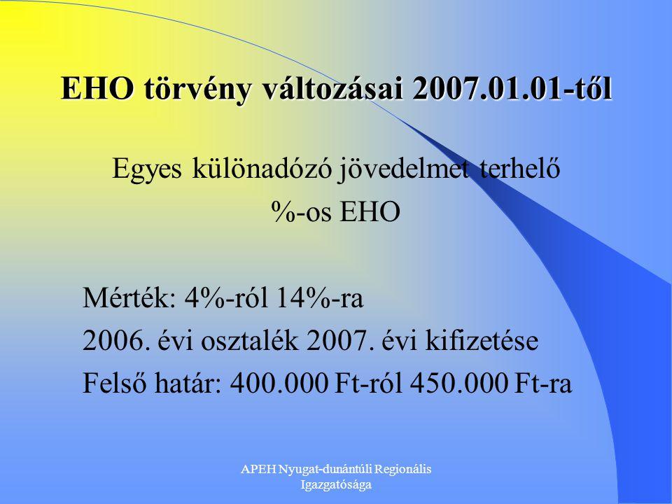 EHO törvény változásai 2007.01.01-től