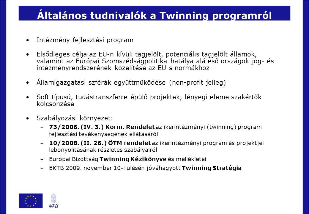 Általános tudnivalók a Twinning programról