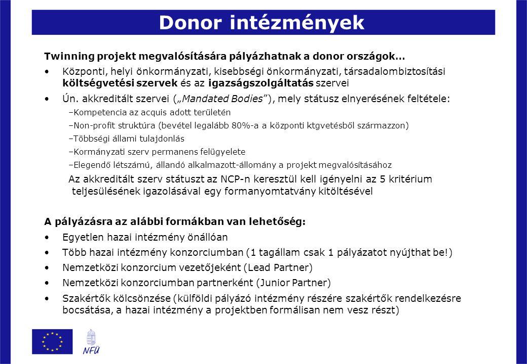 Donor intézmények Twinning projekt megvalósítására pályázhatnak a donor országok…