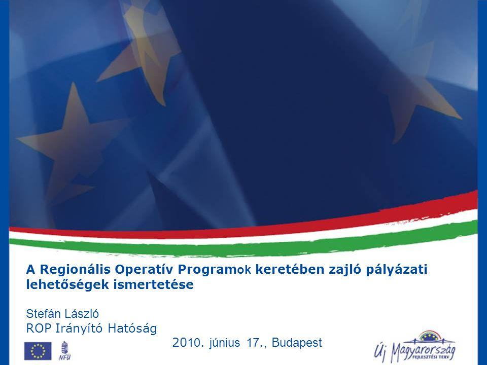 A Regionális Operatív Programok keretében zajló pályázati lehetőségek ismertetése