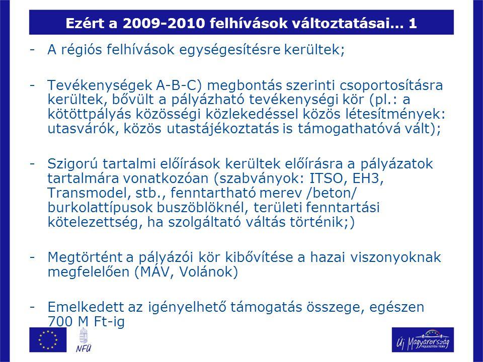 Ezért a 2009-2010 felhívások változtatásai… 1