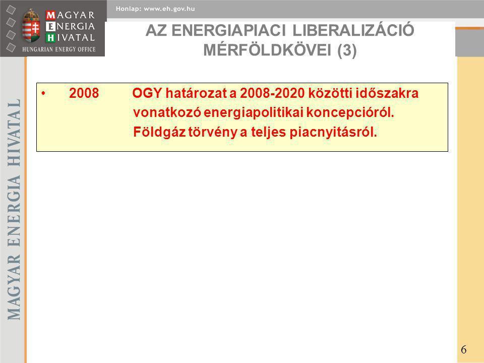 AZ ENERGIAPIACI LIBERALIZÁCIÓ MÉRFÖLDKÖVEI (3)
