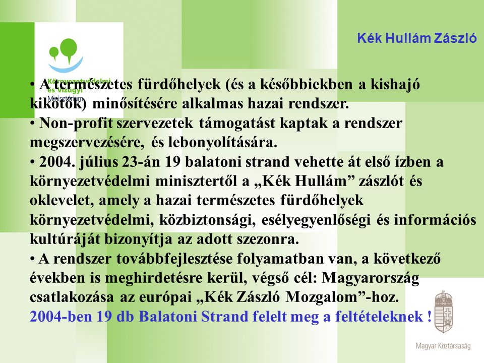 2004-ben 19 db Balatoni Strand felelt meg a feltételeknek !