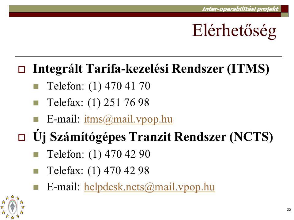 Elérhetőség Integrált Tarifa-kezelési Rendszer (ITMS)