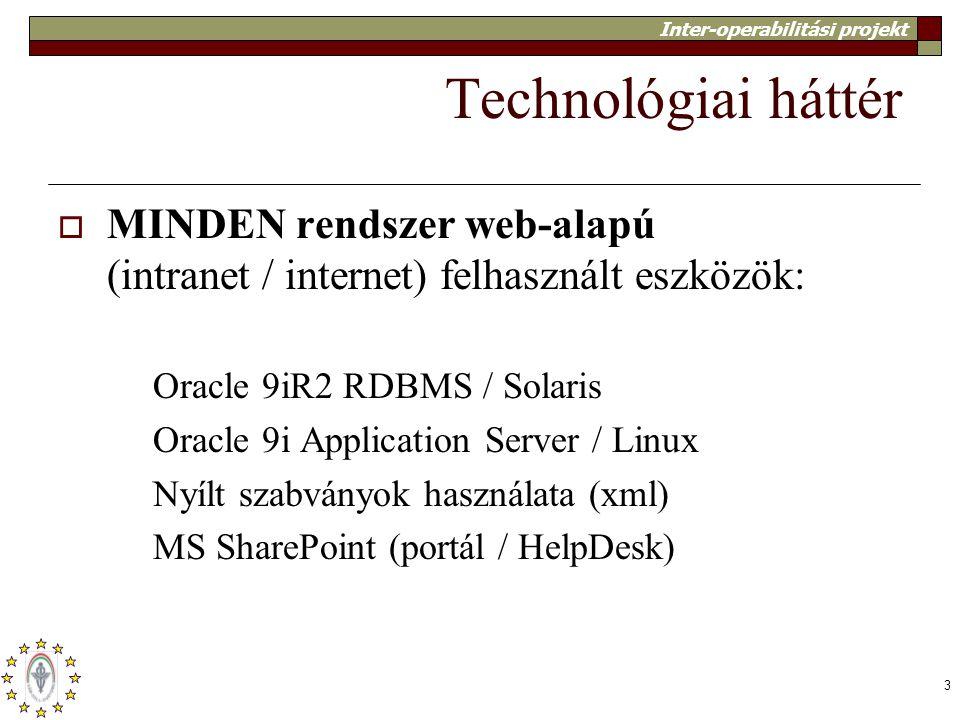 Technológiai háttér MINDEN rendszer web-alapú (intranet / internet) felhasznált eszközök: Oracle 9iR2 RDBMS / Solaris.