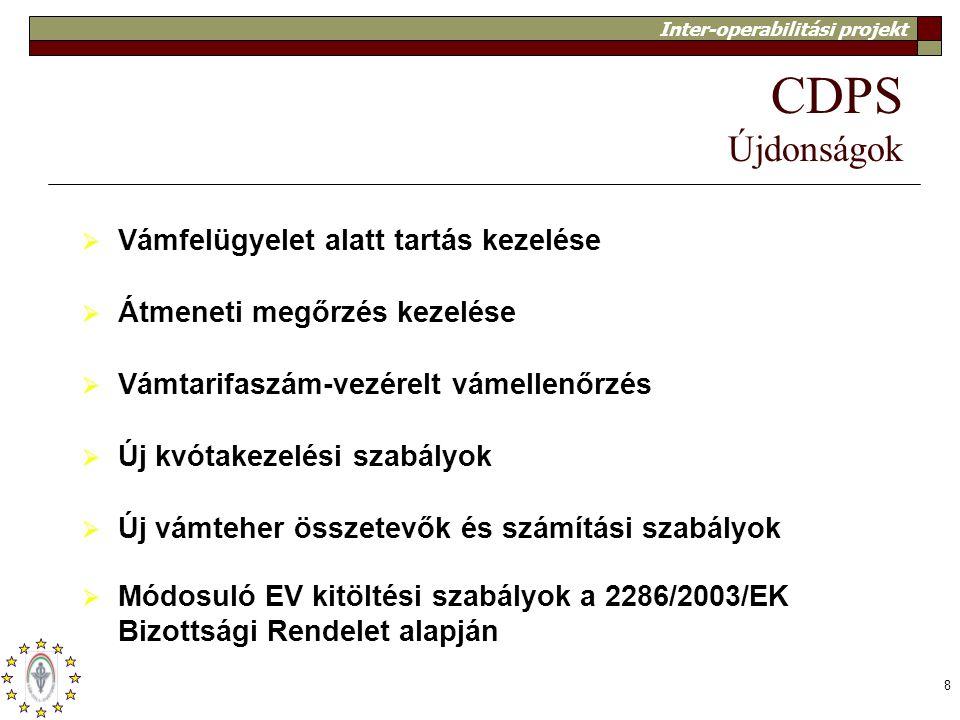 CDPS Újdonságok Vámfelügyelet alatt tartás kezelése