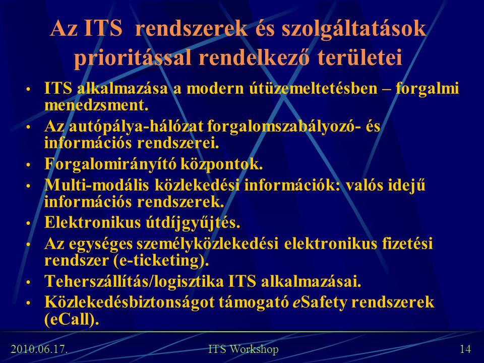 Az ITS rendszerek és szolgáltatások prioritással rendelkező területei