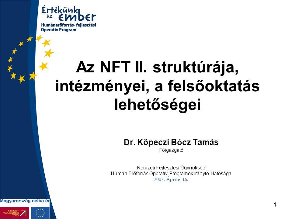 Az NFT II. struktúrája, intézményei, a felsőoktatás lehetőségei