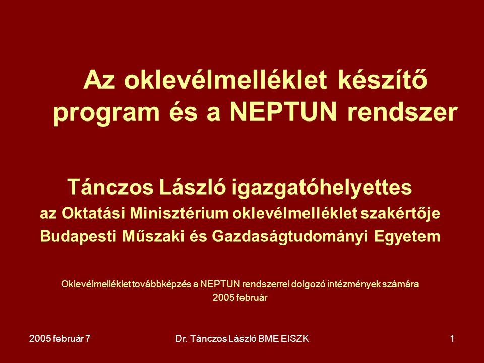 Az oklevélmelléklet készítő program és a NEPTUN rendszer