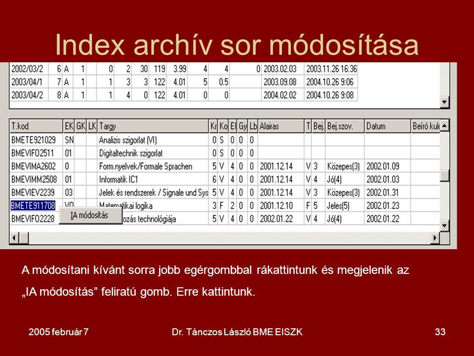 Index archív sor módosítása