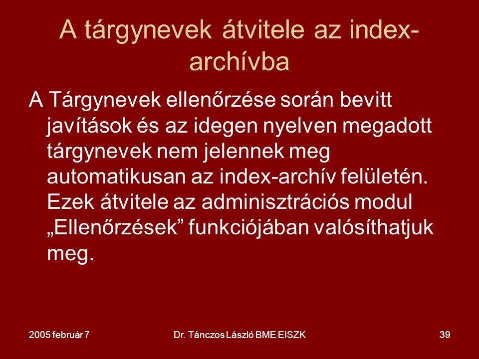A tárgynevek átvitele az index-archívba