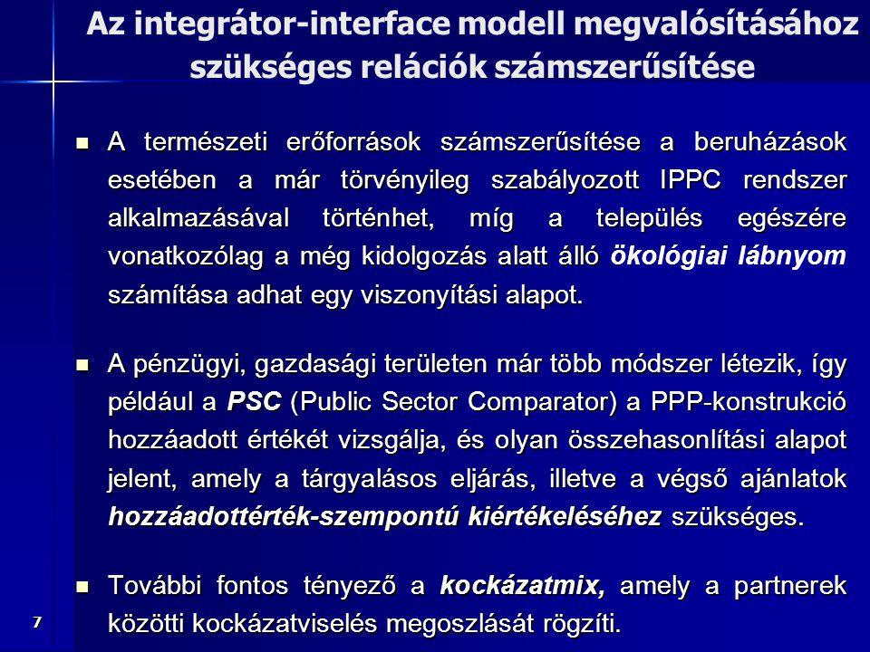 Az integrátor-interface modell megvalósításához szükséges relációk számszerűsítése