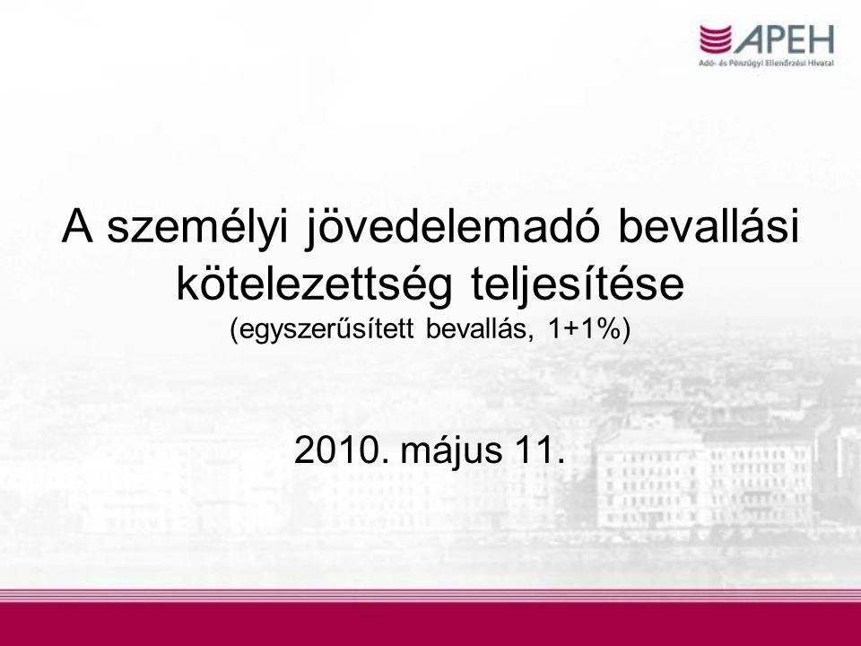 A személyi jövedelemadó bevallási kötelezettség teljesítése (egyszerűsített bevallás, 1+1%)