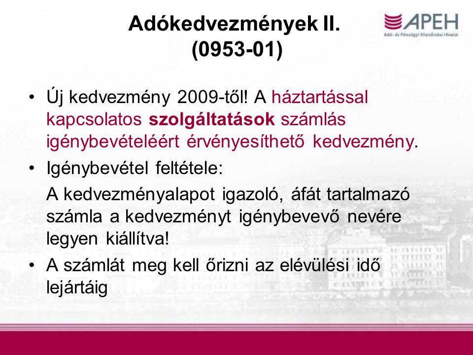 Adókedvezmények II. (0953-01)