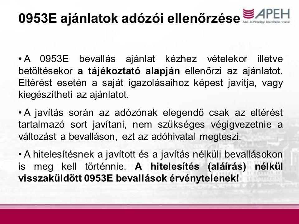 0953E ajánlatok adózói ellenőrzése