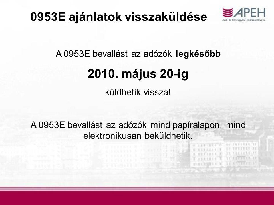 0953E ajánlatok visszaküldése