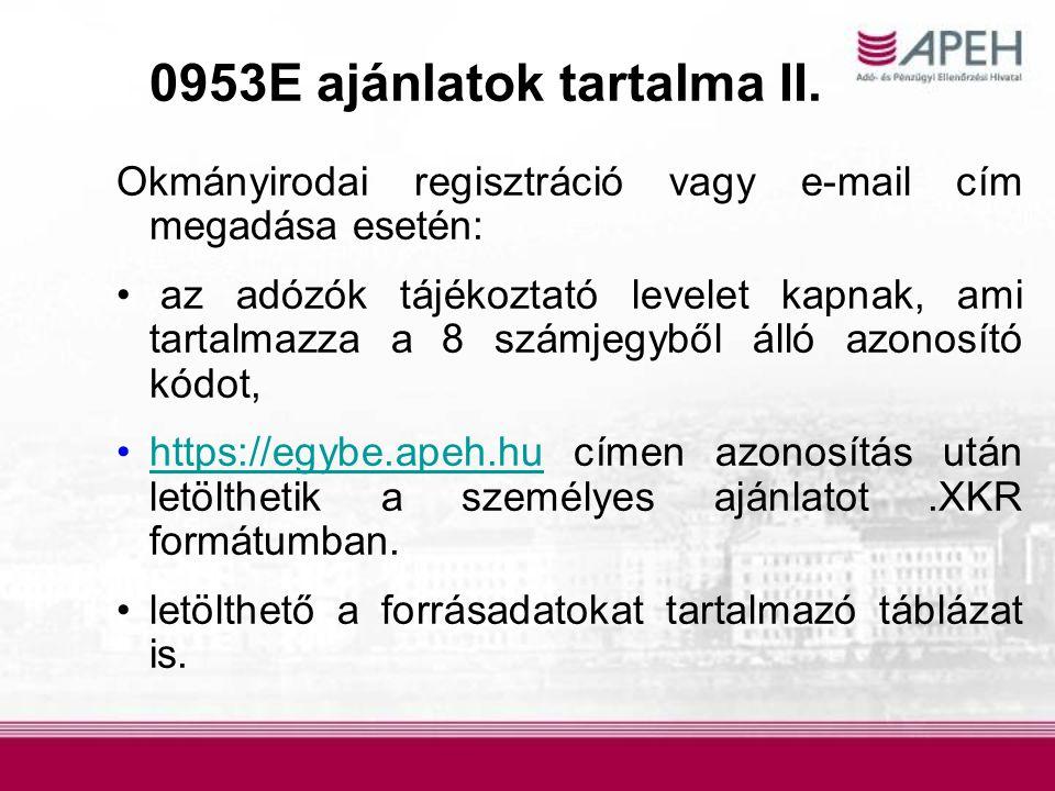 0953E ajánlatok tartalma II.
