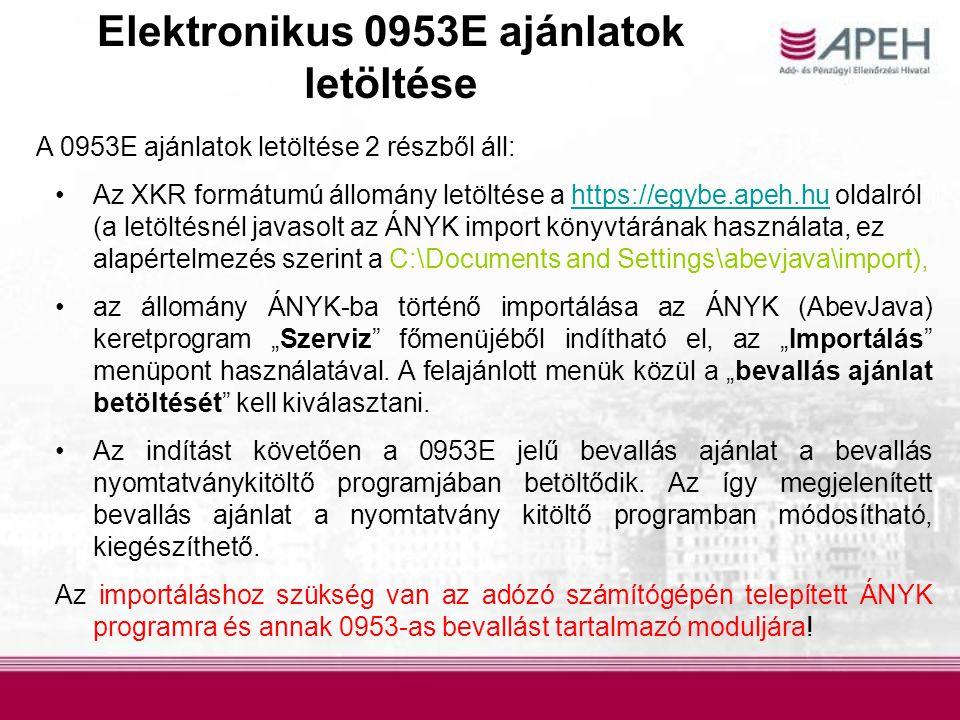 Elektronikus 0953E ajánlatok letöltése