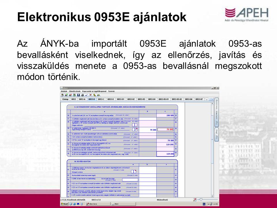 Elektronikus 0953E ajánlatok