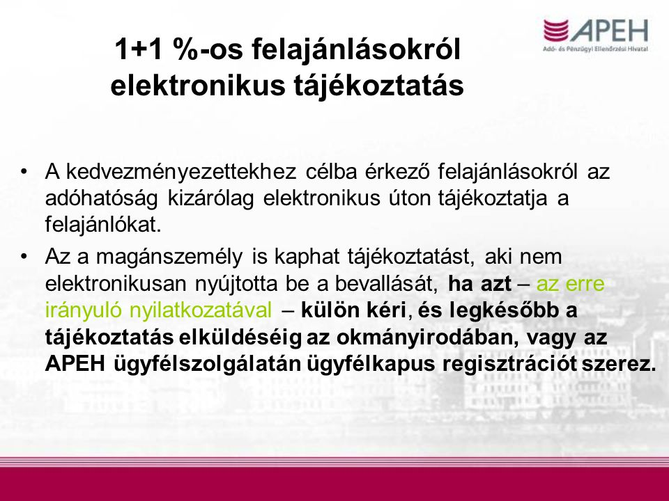 1+1 %-os felajánlásokról elektronikus tájékoztatás