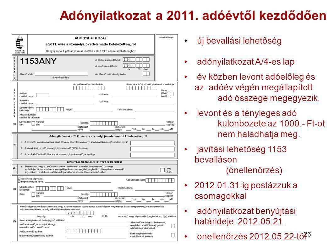 Adónyilatkozat a 2011. adóévtől kezdődően
