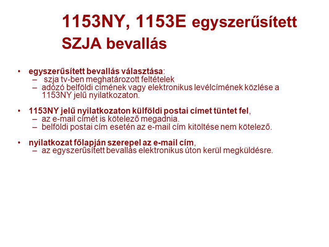 1153NY, 1153E egyszerűsített SZJA bevallás