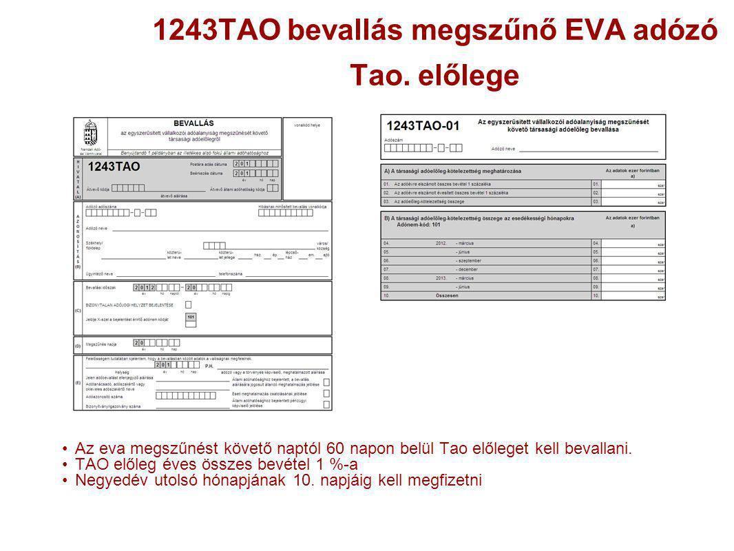 1243TAO bevallás megszűnő EVA adózó Tao. előlege