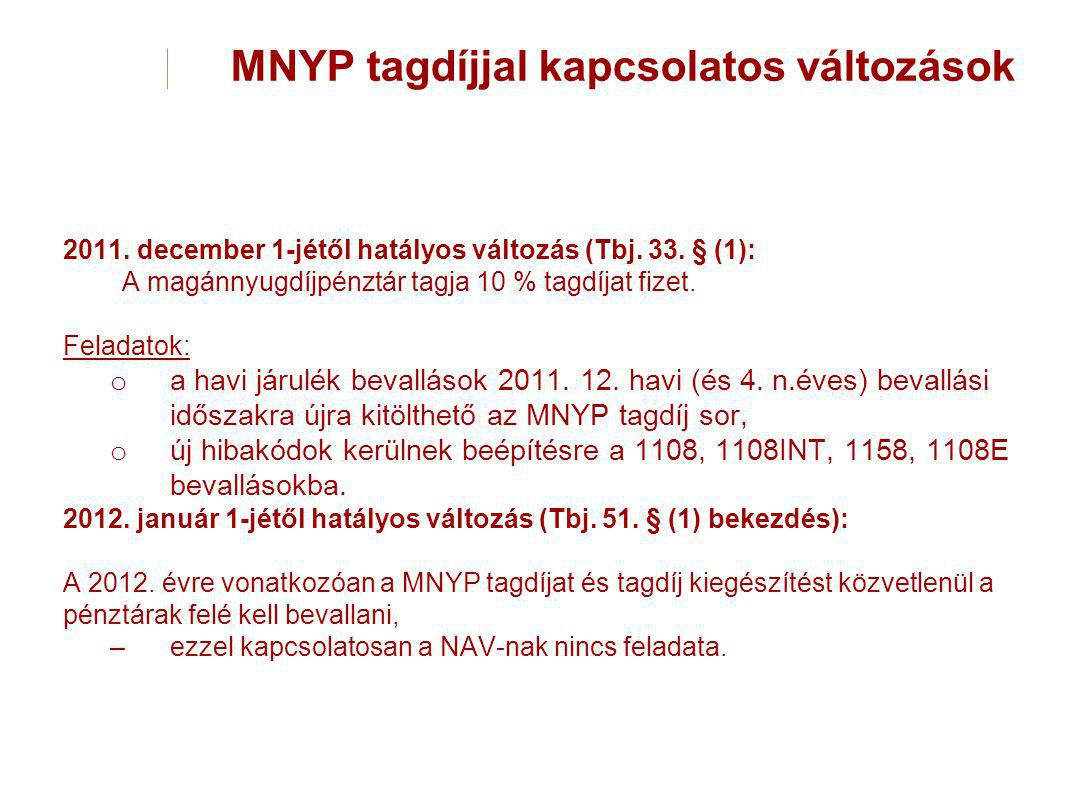 MNYP tagdíjjal kapcsolatos változások