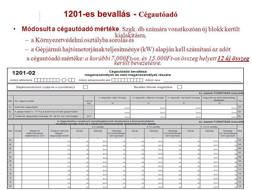 1201-es bevallás - Cégautóadó