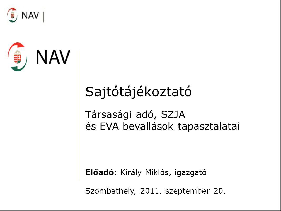 Sajtótájékoztató Társasági adó, SZJA és EVA bevallások tapasztalatai
