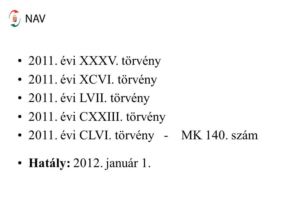 2011. évi XXXV. törvény 2011. évi XCVI. törvény. 2011. évi LVII. törvény. 2011. évi CXXIII. törvény.