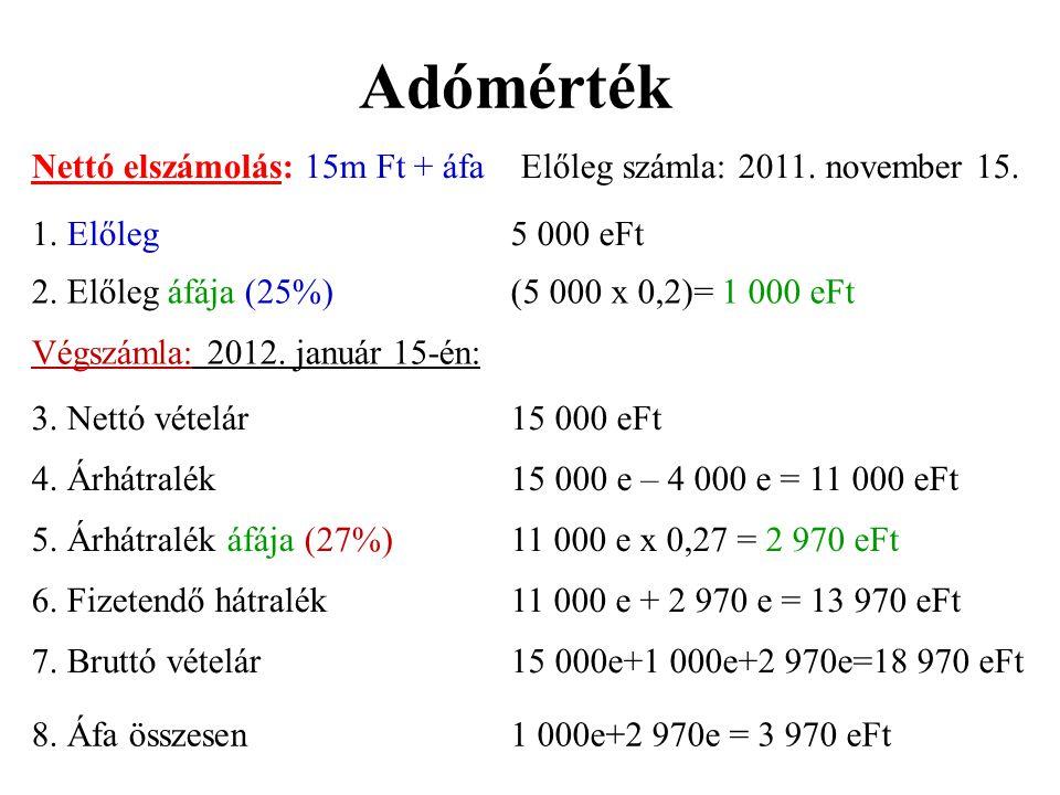 Adómérték Nettó elszámolás: 15m Ft + áfa Előleg számla: 2011. november 15. 1. Előleg. 5 000 eFt.