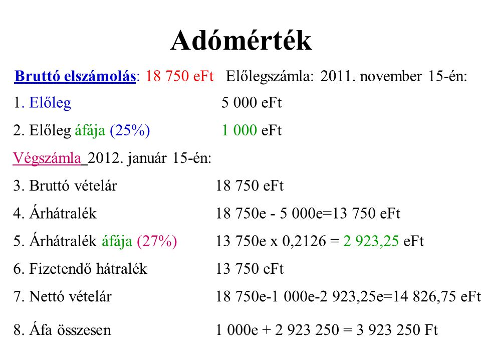 Adómérték Bruttó elszámolás: 18 750 eFt Előlegszámla: 2011. november 15-én: 1. Előleg. 5 000 eFt.