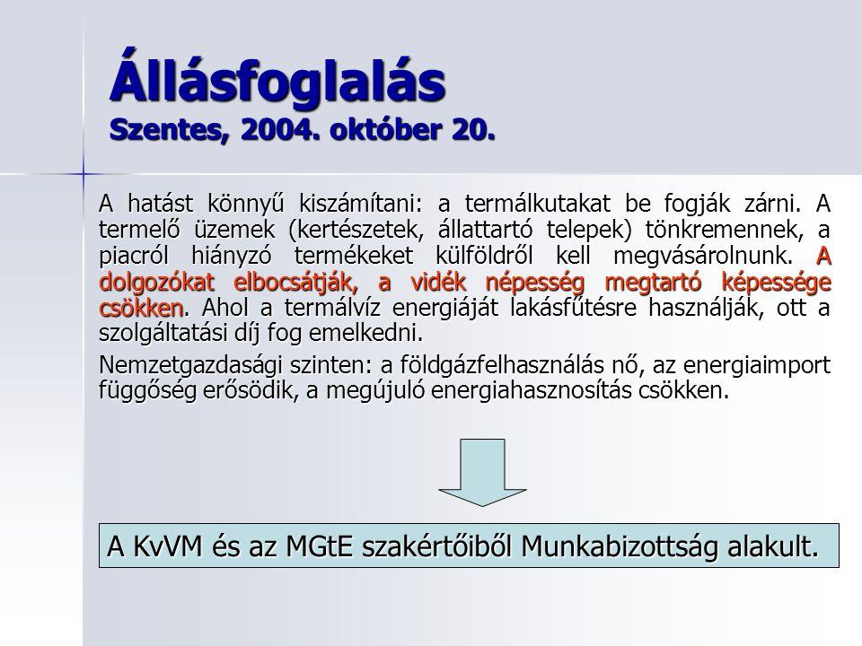 Állásfoglalás Szentes, 2004. október 20.