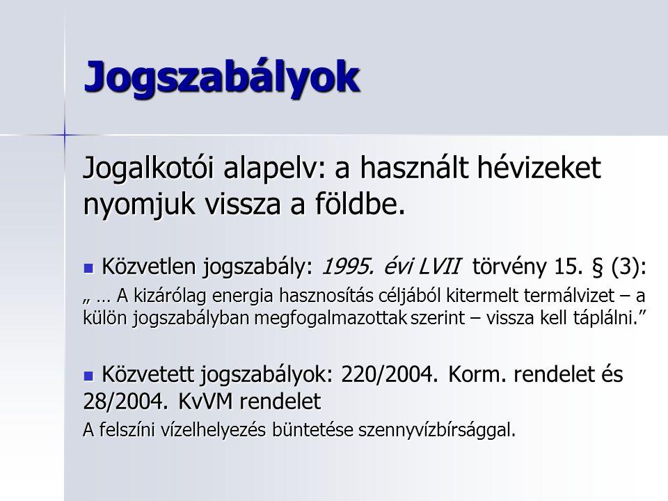Jogszabályok Jogalkotói alapelv: a használt hévizeket nyomjuk vissza a földbe. Közvetlen jogszabály: 1995. évi LVII törvény 15. § (3):